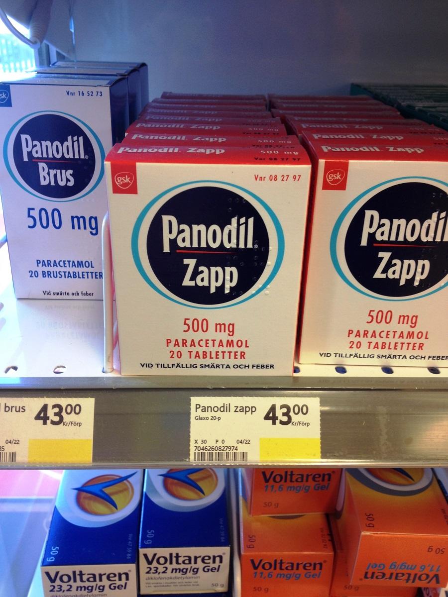 Panodil Zapp 500 mg - receptfria smärtstillande tabletter.
